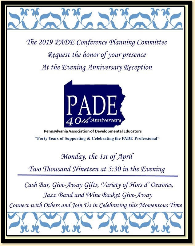 PADE 40th anniversary celebration invitation