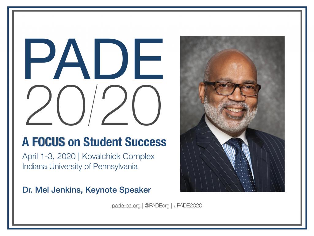 PADE 2020 Conference Logo, keynote speaker Dr. Mel Jenkins