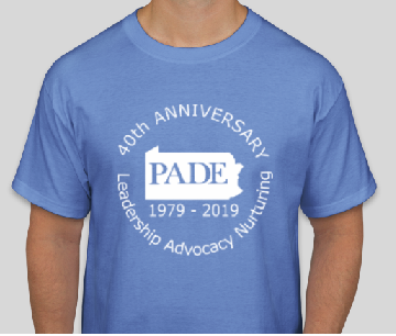 PADE 40th Anniversary tshirt: This is a Hanes tagless T-shirt in Carolina blue. Front image is a large circle 40th anniversary logo stating PADE 40th Anniversary: Leadership, Advocacy, and Nurturing. Small runs a little small (ladies 6 or so), shirts are good quality otherwise (unisex sizing).